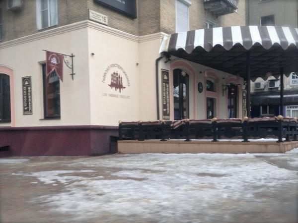 Lviv Chocolate Factory is one of few cafes still doing trade in Donetsk, and signs still in Ukr