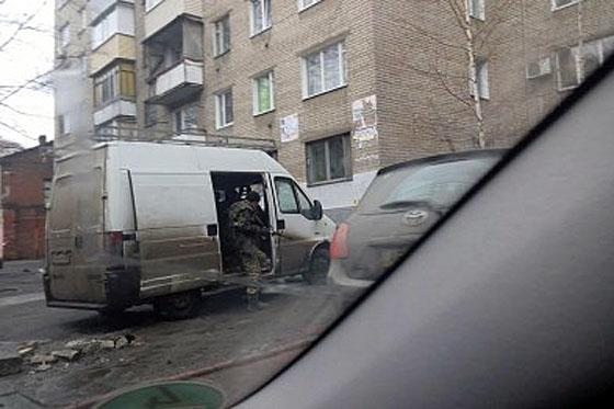 Dnipropetrovsk police detained van with drunk armored persons inside