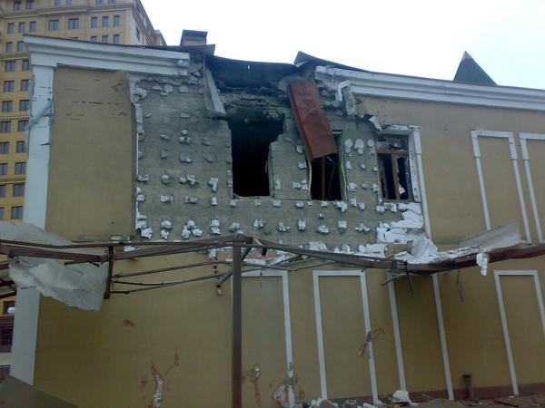 Donetsk Shakhterskaya square after shelling