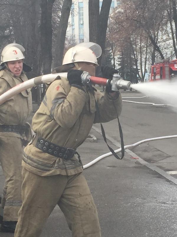 Firefighter on the scene near MoD