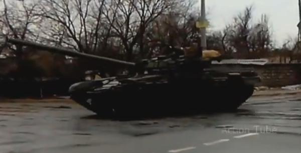 Russian army column in Donetsk T-72B1, BMP-2,  Ural trucks