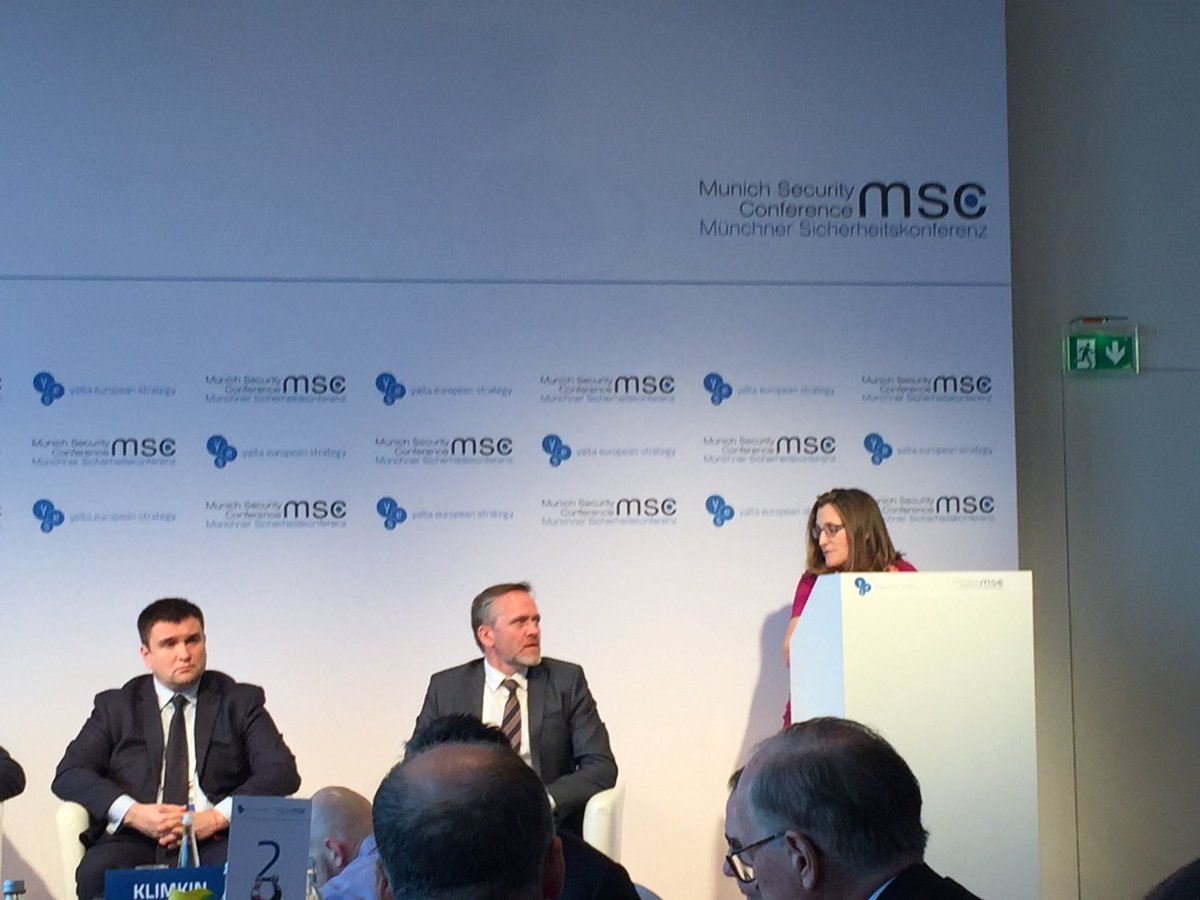 .@cafreeland at @PinchukFund @yes_ukraine Ukrainian lunch at MSC2018: we all have to stand with Ukraine because the Russian aggression is a blatant breach of the international law, a crime against the rule based world order and against all of us.