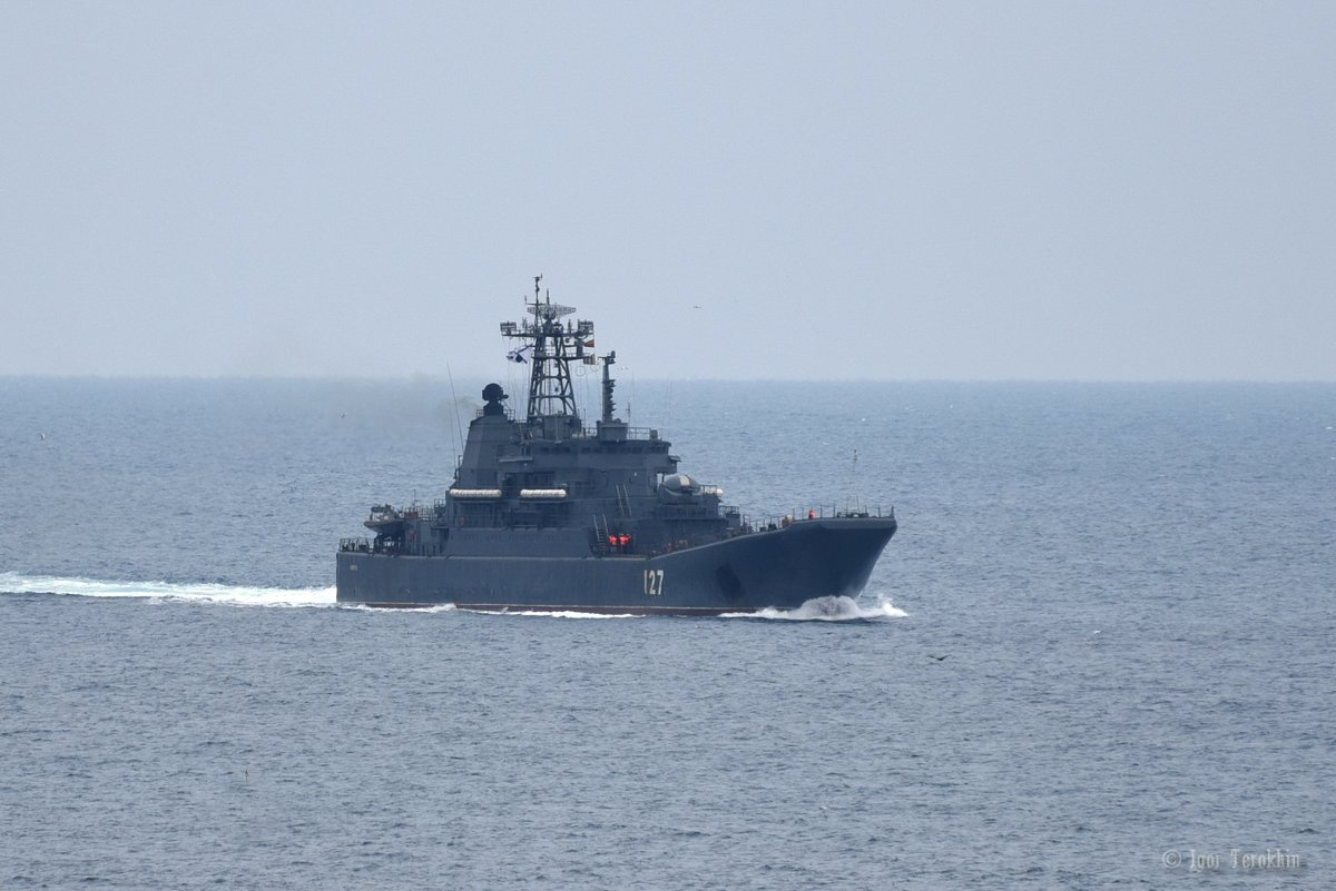 Russian Navy landing ship 'Minsk' [project 775II/Ropucha Class] enters in Sevastopol Bay. February 19, 2018  She looks heavily loaded.