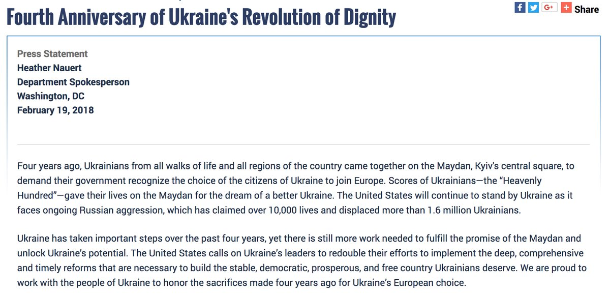 US Department of State: Four years ago, Ukrainians came together to demand their government recognize the choice of its citizens to join Europe. The U.S. will continue to stand by Ukraine as it faces ongoing Russian aggression and as it works to build a stable, democratic, prosperous, and free Ukraine.