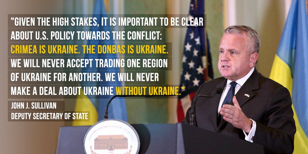 DepSec Sullivan: I'm honored to affirm the US' unwavering support for an independent Ukraine – one that is stable, democratic, prosperous and free. We remain committed to restoring Ukraine's territorial integrity and ensuring safety, security of its citizens.